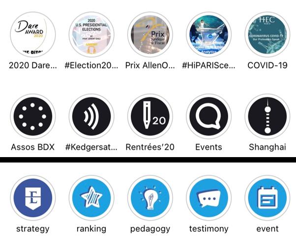 Universités et grandes écoles sur Instagram - stories